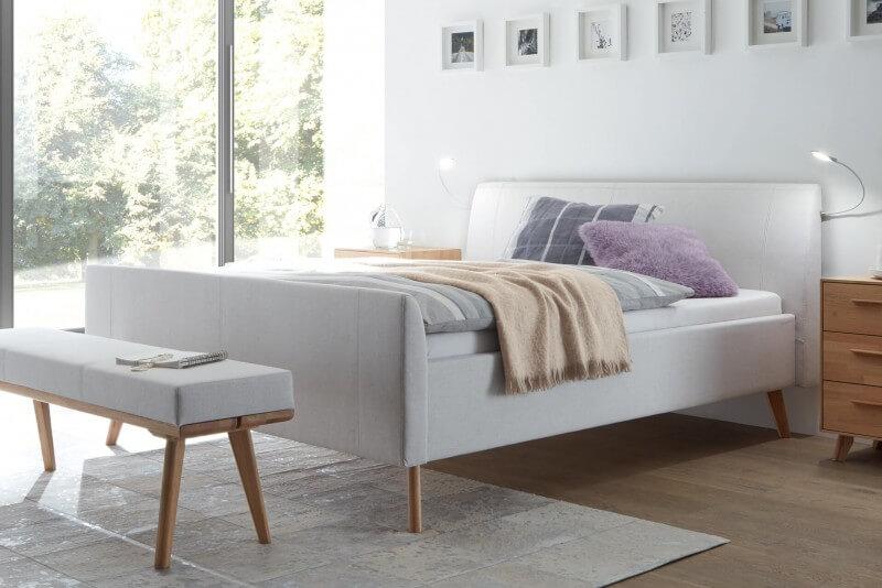 Wasserbett + Polsterbett Dreamline Lungo 28/2S mit Kopfteil Ronio + Füße Masi