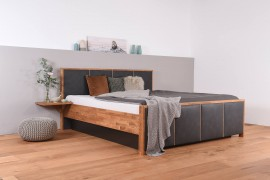 Wasserbett mit geschlossenem Sockel + Bettrahmen SuMa Quaddro + Nachttischablage + Laken