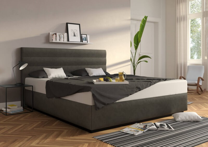 Wasserbett Largo in Boxspringoptik, Bezug: Casual Carbon ohne Topper