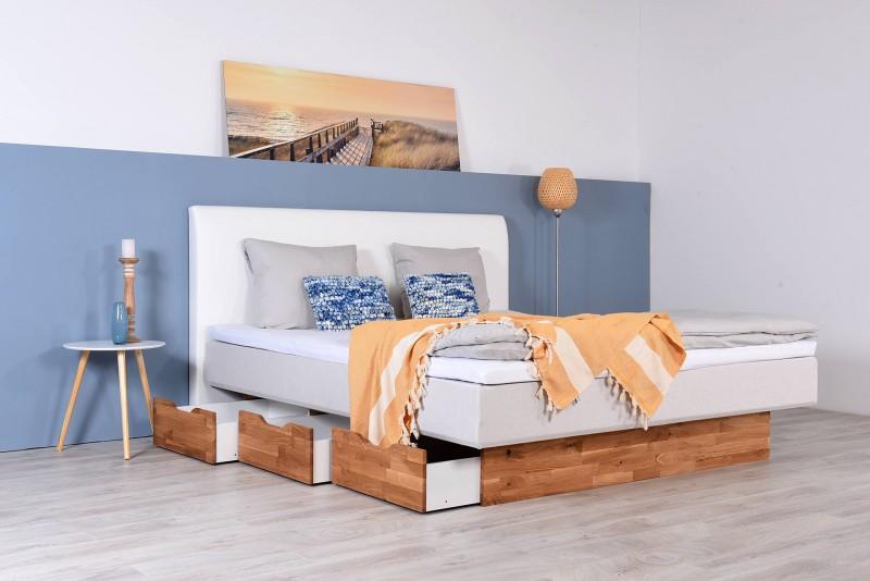 Wasserbett mit Schubkästen + Topper + Wandpaneel Malta
