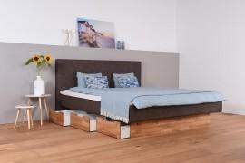 Wasserbett mit Schubkästen + Topper + Wandpaneel Vincent