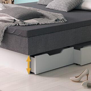 Sockelhöhe bei einem Schubladensockel für Wasserbetten