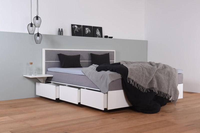 Wasserbett mit Schubkästen in Boxspringoptik + Topper + Nachttisch Ablage + Wandpaneel Duetto H
