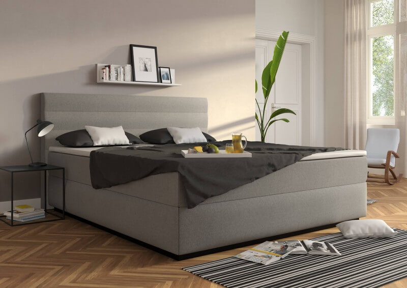 Wasserbett Largo in Boxspringoptik, Bezug: Lightgrey mit Topper
