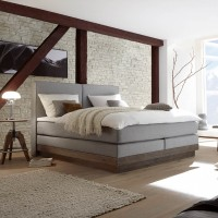 SET 23 - Boxspring Wasserbett Massiva + Wandpaneel Palermo XL + Topper + Laken