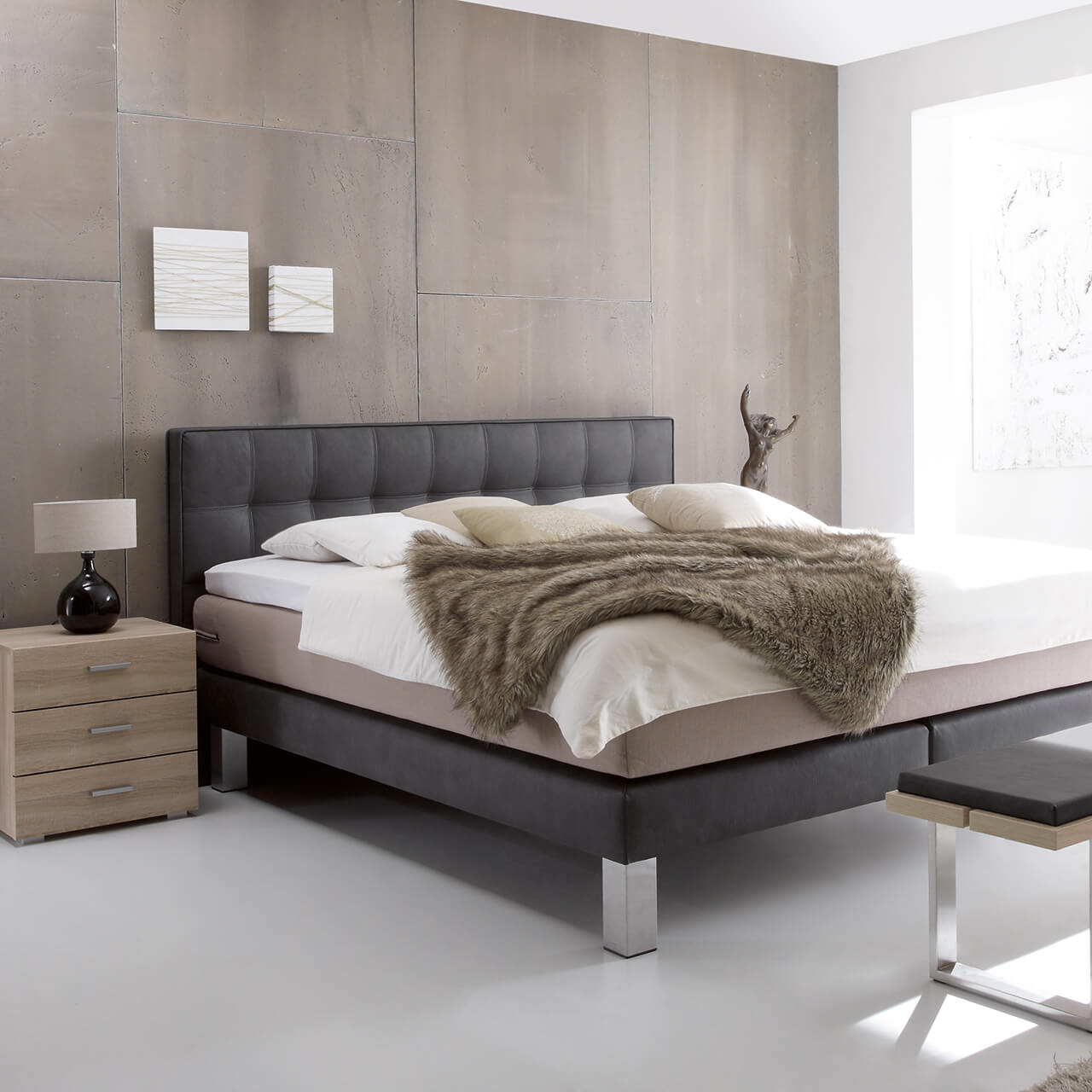 boxspringbett modern umgebaut zum boxspring wasserbett suma wasserbetten. Black Bedroom Furniture Sets. Home Design Ideas