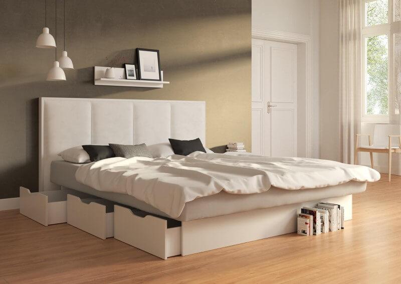 Wasserbett Quaddro mit Schubkastensockel, Dekor: weiß, Bezug: Campos Blanc ohne Topper