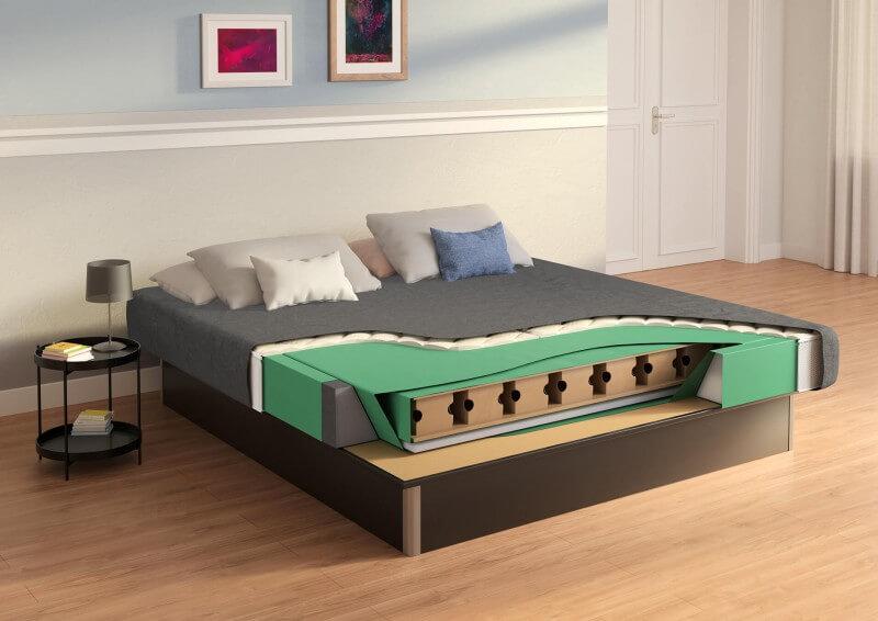 SuMa Wasserbett Flexx Mono mit geschlossenem Sockel für den Einbau in einem Bettrahmen - Qualität: Easy - Dekor: Schwarz