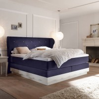 SET 35 - Wasserbett inklusive Boxspring Romantic + Wandpaneel Florenz-star + Topper + Laken