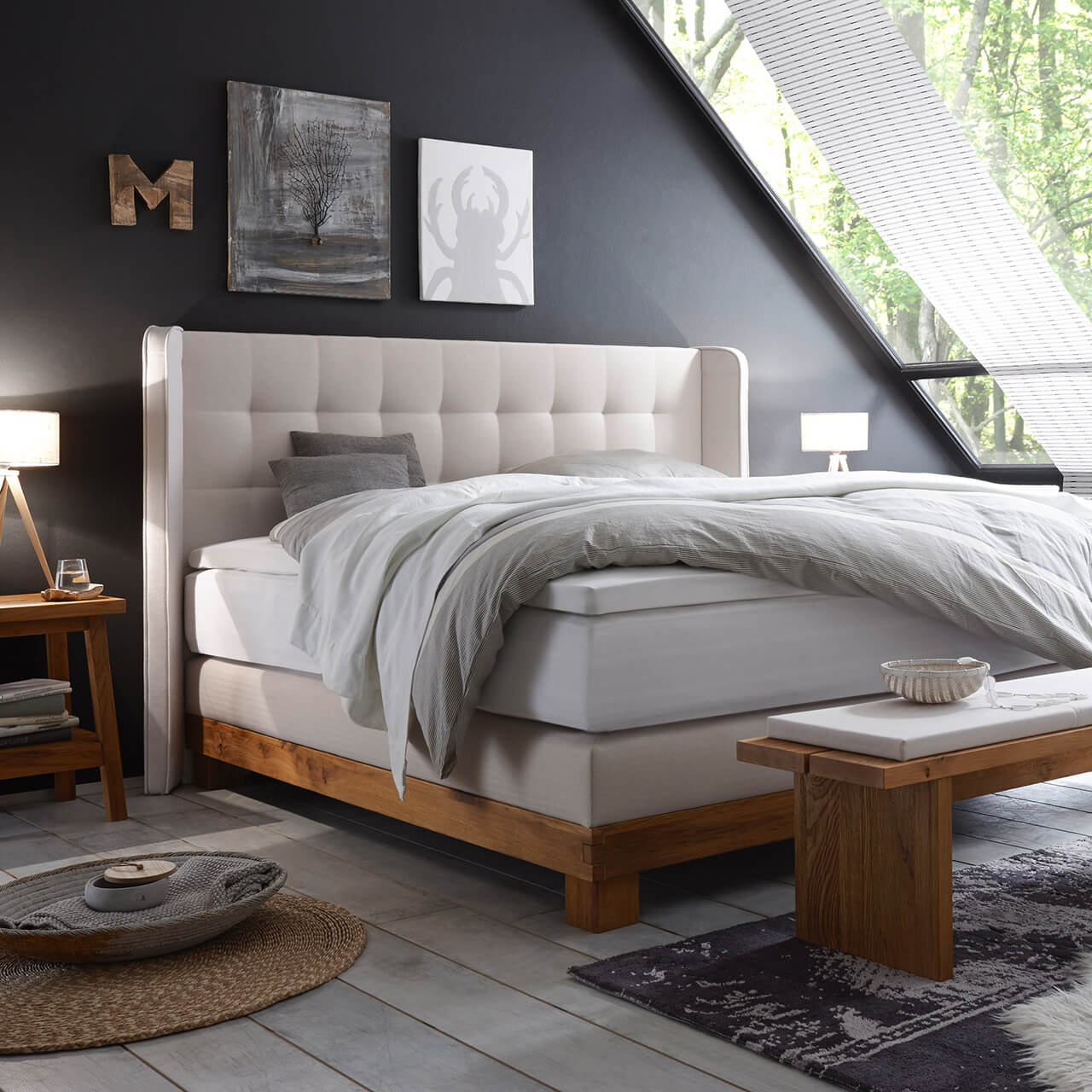 boxspringbett massiva box 16 basis 10 umgebaut zum. Black Bedroom Furniture Sets. Home Design Ideas