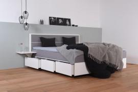 Wasserbett mit Schubkästen in Boxspringoptik + Topper + Nachttischablage + Wandpaneel Duetto H