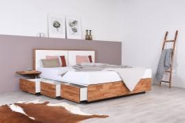 Wasserbett mit Schubkästen in Boxspringoptik + Nachttisch Ablage + Wandpaneel Duetto