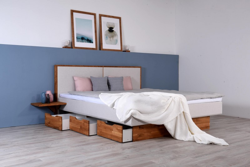 Wasserbett mit Schubkästen + Topper + Nachttischablage + Wandpaneel Duetto V