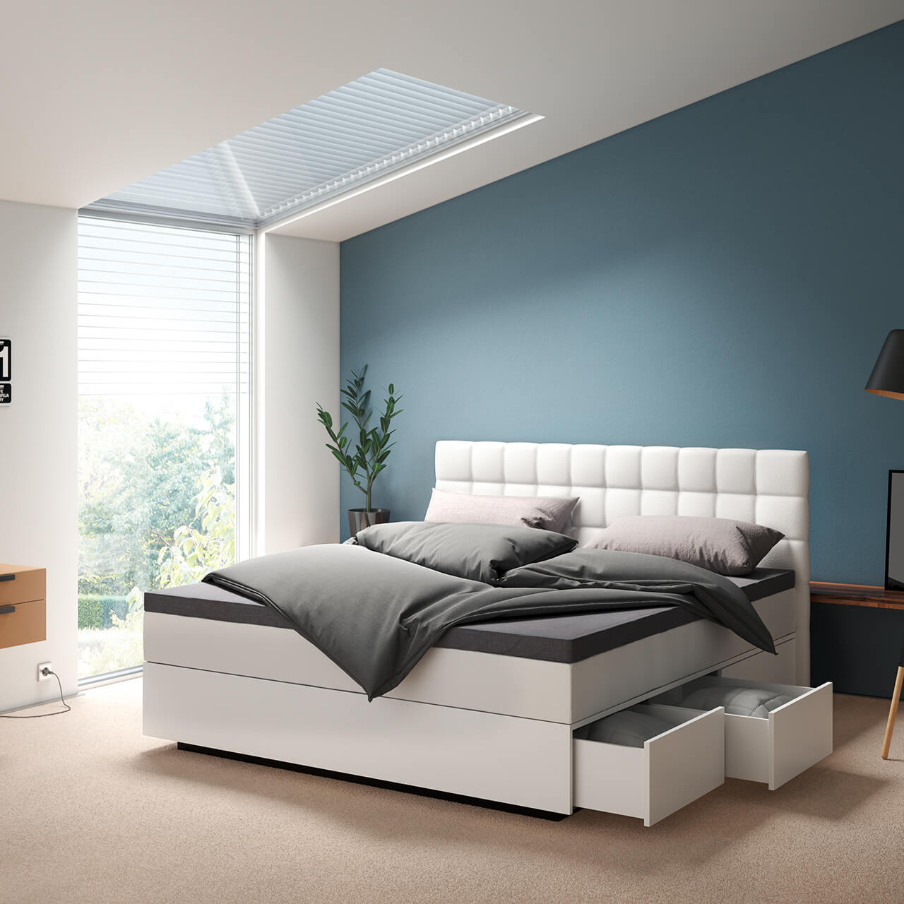 suma boxspring mit schubkasten boxspring funktion bettrahmen suma wasserbetten. Black Bedroom Furniture Sets. Home Design Ideas