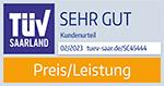 TUV Saarland Preis/Leistung - SEHR GUT!