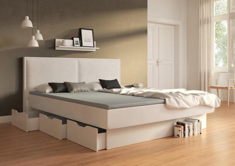 Wasserbett Duetto mit Schubkastensockel, Dekor: weiß, Bezug: Campos Blanc mit Topper