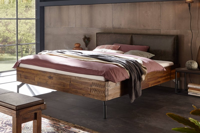 Wasserbett + Bettrahmen Factory Dallas + Kopfteil Cena + Füße Tondo